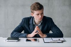 Office young business man dealing problems work stock image