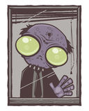 Office Zombie Cartoon. Sad little office zombie with big green eyes staring out of his window with his hand pressed against the glass royalty free illustration