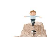 Officeman идя на стальную веревочку над пропастью в горах 3 Стоковые Фотографии RF