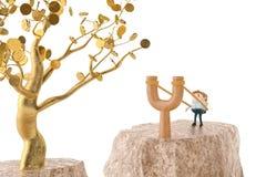 Officeman на рогатке, идет к дереву золота иллюстрация 3d Стоковое фото RF