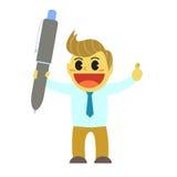 Officeman cartoon and big pen Stock Photo