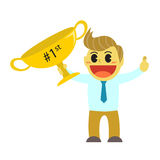 Officeman cartoon and big trophy of the first rank Stock Photos