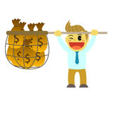 Officeman cartoon and net of money Royalty Free Stock Images
