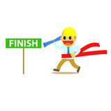 Officeman cartoon and run to finish line 1 Royalty Free Stock Photography