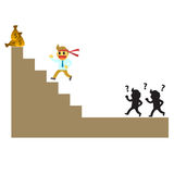 Officeman cartoon and run to the peak. Cute cartoon everyday life in the office Stock Photo