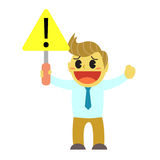 Officeman cartoon and sign of careful in the way. Cute cartoon everyday life in the office Royalty Free Stock Photography
