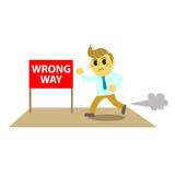 Officeman cartoon and stop sign 4, Royalty Free Stock Photography