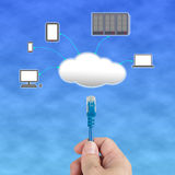 Officeman hold  Network cable  connect to cloud computing server. In blue sky Stock Photos
