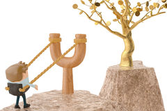 An officeman on slingshot, go to gold tree.3D illustration. An officeman on slingshot, go to gold tree Stock Images