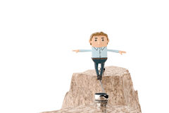 An officeman walking on steel rope over precipice in mountains.3. An officeman walking on steel rope over precipice in mountains Royalty Free Stock Photos