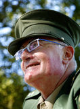 Officer. Man in old German DDR uniform in green Royalty Free Stock Image