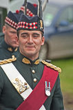 Officer in charge of protection at Braemar. Officer from the Blackwatch Regiment in charge of the men protecting  Queen Elizabeth 2 at the Braemar Gathering of Stock Photography