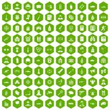 100 officer icons hexagon green. 100 officer icons set in green hexagon isolated vector illustration Royalty Free Stock Photography