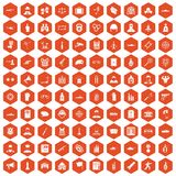 100 officer icons hexagon orange. 100 officer icons set in orange hexagon isolated vector illustration royalty free illustration