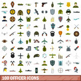 100 officer icons set, flat style. 100 officer icons set in flat style for any design vector illustration Stock Image