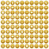 100 officer icons set gold. 100 officer icons set in gold circle isolated on white vectr illustration stock illustration
