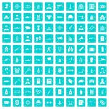 100 officer icons set grunge blue. 100 officer icons set in grunge style blue color isolated on white background vector illustration stock illustration
