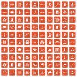 100 officer icons set grunge orange. 100 officer icons set in grunge style orange color isolated on white background vector illustration Royalty Free Stock Photos