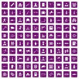 100 officer icons set grunge purple. 100 officer icons set in grunge style purple color isolated on white background vector illustration Royalty Free Stock Image