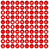 100 officer icons set red. 100 officer icons set in red circle isolated on white vectr illustration stock illustration