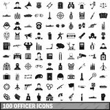 100 officer icons set, simple style. 100 officer icons set in simple style for any design vector illustration Royalty Free Stock Photos