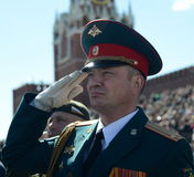 Officer during the national anthem on the red square during the General rehearsal of the parade dedicated to the 72 anniversary of Stock Images