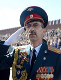 Officer during the national anthem on the red square during the General rehearsal of the parade dedicated to the 72 anniversary of Royalty Free Stock Images