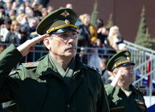 Officer during the national anthem on the red square during the General rehearsal of the parade dedicated to the 72 anniversary of Royalty Free Stock Photos