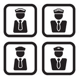 Officer, pilot or other personel icon in four variations.  Stock Images