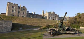 Officer's Mess and WW2 Artillery at Dover Castle.  Royalty Free Stock Image