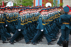 Officer soldiers march on rehearsal of parade Royalty Free Stock Photo