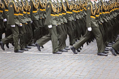 Officer soldiers march on rehearsal of parade Stock Photo