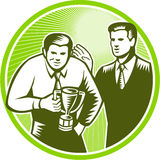 Officer Worker Winning Trophy Woodcut Stock Images