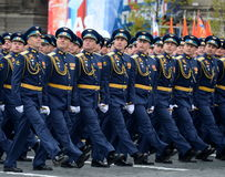 Officers of the air force Academy named after Professor N. E. Zhukovsky and Y. A. Gagarin during the parade on red square in honor Stock Image