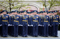 Officers of the air force Academy named after Professor N. E. Zhukovsky and Y. A. Gagarin during the parade on red square in honor Stock Images
