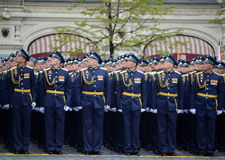 Officers of the air force Academy named after Professor N. E. Zhukovsky and Y. A. Gagarin during the parade on red square in honor Royalty Free Stock Photos