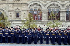 Officers of the air force Academy named after Professor N. E. Zhukovsky and Y. A. Gagarin during the parade on red square in honor Stock Photos