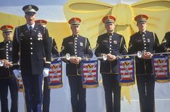 Officers with Bugles, Desert Storm Victory Parade, Washington, D.C. Stock Photo