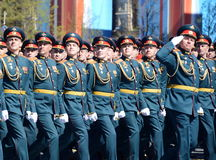 Officers of the Combined arms Academy of the Armed Forces of the Russian Federation on the General parade rehearsal in red square Stock Photography