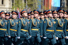 Officers of the Combined arms Academy of the Armed Forces of the Russian Federation on the General parade rehearsal in red square Royalty Free Stock Photos