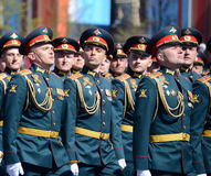 Officers of the Combined arms Academy of the Armed Forces of the Russian Federation on the General parade rehearsal in red square Stock Photo