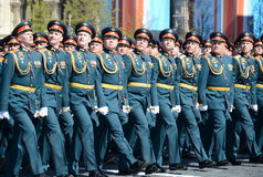 Officers of the Combined arms Academy of the Armed Forces of the Russian Federation on the General parade rehearsal in red square Royalty Free Stock Photo