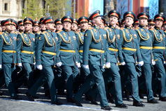 Officers of the Combined arms Academy of the Armed Forces of the Russian Federation on the General parade rehearsal in red square Stock Photos