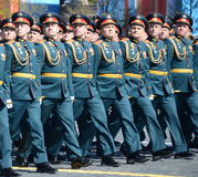 Officers of the Combined arms Academy of the Armed Forces of the Russian Federation on the General parade rehearsal in red square Stock Image