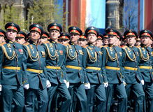 Officers of the Combined arms Academy of the Armed Forces of the Russian Federation on the General parade rehearsal in red square Royalty Free Stock Image