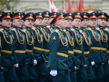 Officers of the Combined arms Academy of the Armed Forces of the Russian Federation during the military parade on red square in ho Stock Photo