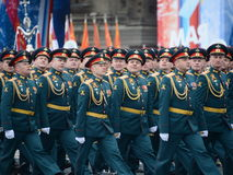 Officers of the Combined arms Academy of the Armed Forces of the Russian Federation during the military parade on red square in ho Stock Image