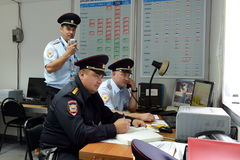 Officers in the guard unit of the Moscow police Department. Stock Photos