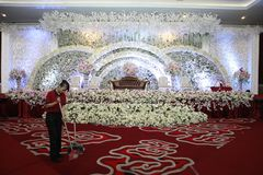 Officers have cleared the area near the luxury wedding decoration. Yogyakarta, 06/23/2018 stock photos