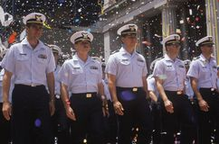 Officers Marching in Ticker Tape Parade, New York City, New York Royalty Free Stock Photography